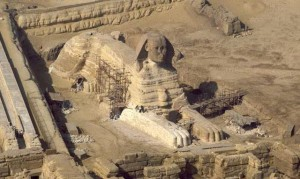 Egypt,Giza, the Sphinx, aerial view
